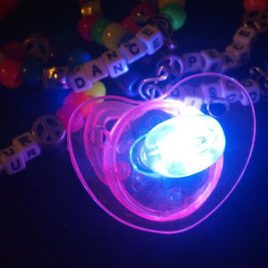 LED RAVE PACIFIER - 4pk - Flashing Lights Necklace